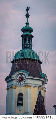 Clock tower dome in the town of Krems austria