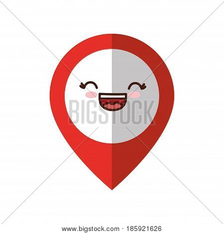 kawaii localization pin icon over white background. vector illustration