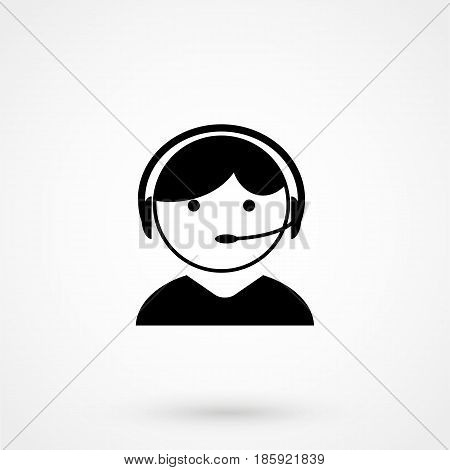 Telephonist Icon Vector. Flat Design Isolated On Background
