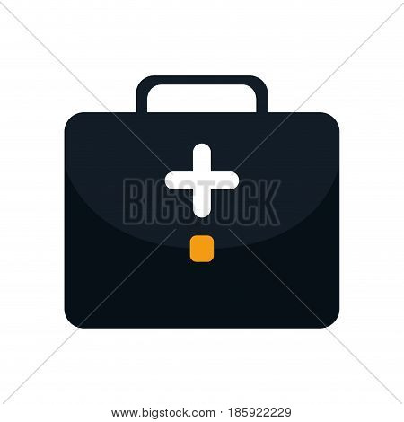 first aid briefcase icon over white background. vector illustration