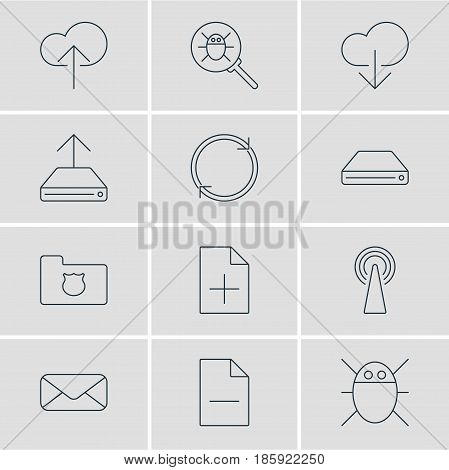 Vector Illustration Of 12 Web Icons. Editable Pack Of Data Upload, Letter, Refresh And Other Elements.