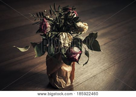 Bouquet Of Dry Red And White Roses