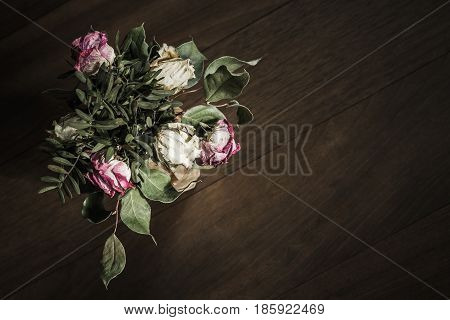 Bouquet Of Dried Red And White Roses