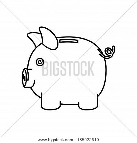black silhouette of moneybox in shape of pig vector illustration