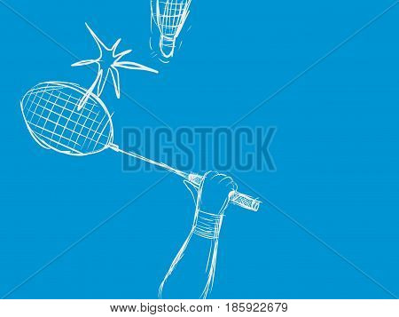 badminton sport with racket and shuttlecock hit sketching