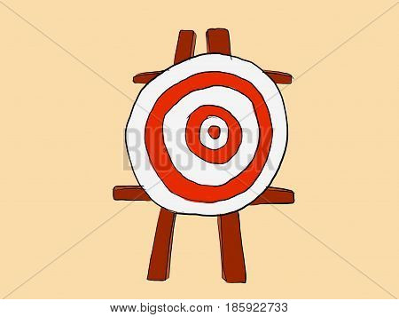 goals dart target standing with wooden stand sketching