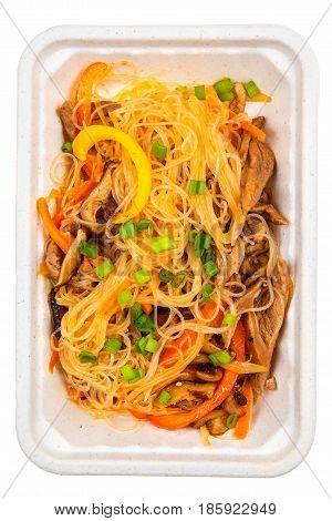 Rice Noodles With Meat, Mushrooms And Peppers.