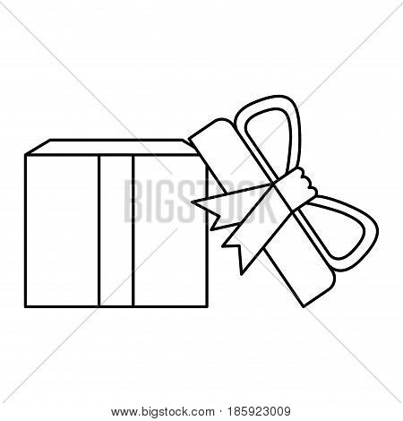 black silhouette of opened gift box with decorative ribbon and topknot vector illustration
