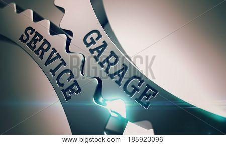 Message Garage Service on Metallic Cog Gears - Business Concept. Garage Service Shiny Metal Cog Gears - Business Concept. with Lens Effect. 3D Illustration .