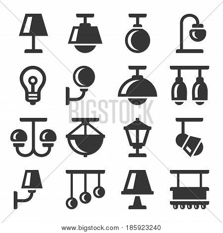 Lamp Icons Set on White Background. Vector