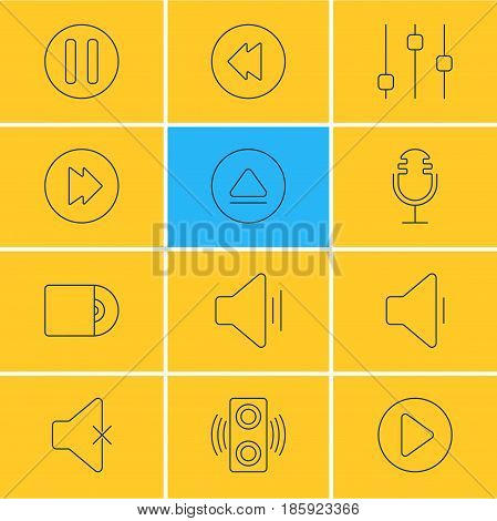 Vector Illustration Of 12 Melody Icons. Editable Pack Of Mike, Stabilizer, Audio And Other Elements.