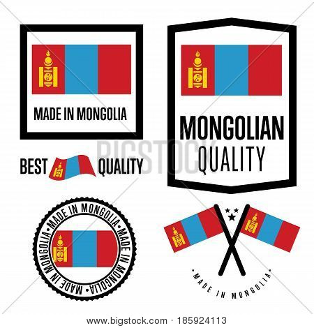 Mongolia quality isolated label set for goods. Exporting stamp with mongolian flag, nation manufacturer certificate element, country product vector emblem. Made in Mongolia badge collection.