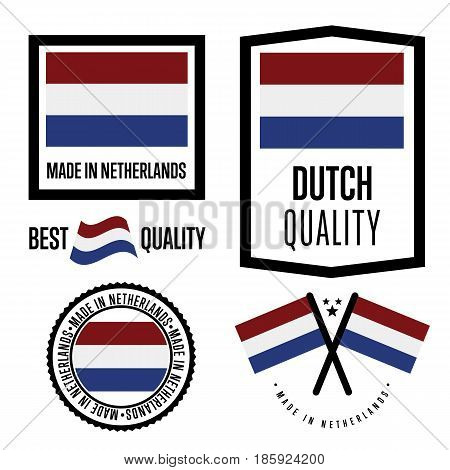 Netherlands quality isolated label set for goods. Exporting stamp with dutch flag, nation manufacturer certificate element, country product vector emblem. Made in Netherlands badge collection.