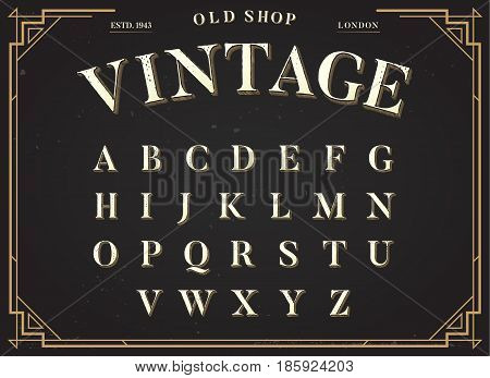 Alphabet Vector Font. All Letters Set with Classy Stylish Background