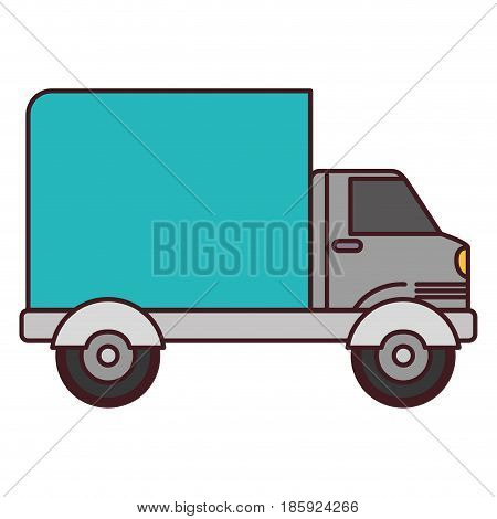 white background with truck with wagon and black contour vector illustration