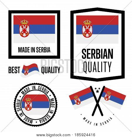 Serbia quality isolated label set for goods. Exporting stamp with serbian flag, nation manufacturer certificate element, country product vector emblem. Made in Serbia badge collection.