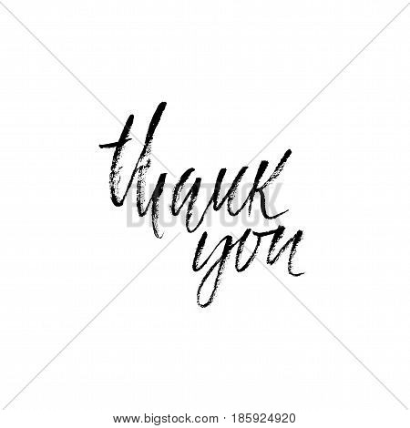 Thank You handwritten inscription. Hand drawn modern dry brush lettering. Thank you card. Vector illustration
