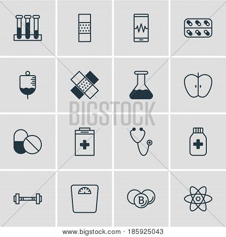 Vector Illustration Of 16 Medical Icons. Editable Pack Of Medicine, Phone Monitor, Painkiller And Other Elements.