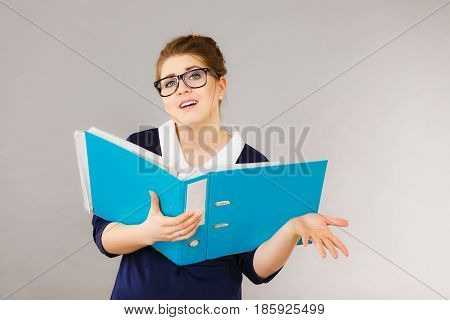 Solving problems at work employees competence concept. Confused business woman thinking about problem solution