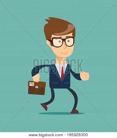 Happy running businessman. Isolated over background. Stock vector illustration for poster, greeting card, website, ad, business presentation, advertisement design.