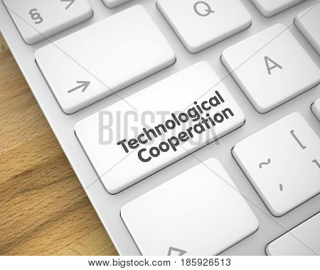 Online Service Concept: Technological Cooperation on the Metallic Keyboard Background. A Keyboard with a White Button - Technological Cooperation. 3D Render.