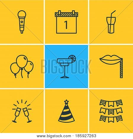 Vector Illustration Of 9 Feast Icons. Editable Pack Of Date Block, Goblet, Decoration And Other Elements.