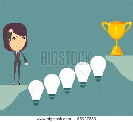 Cartoon woman wants cross the abyss. Thinking. Businessman solving a problem the bridge like lamp idea. Vector illustration for business design and infographic