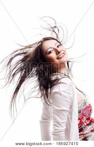 Beautiful Girl With Hair In The Air