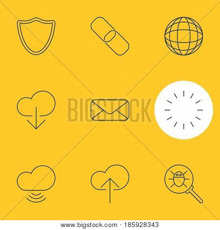 Vector Illustration Of 9 Web Icons. Editable Pack Of Letter, Wave, Bug And Other Elements.