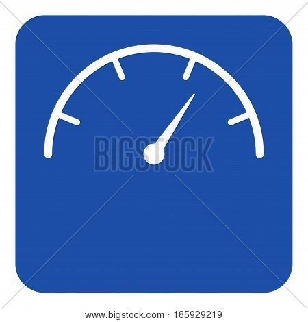 blue rounded square information road sign with white gauge dial symbol icon