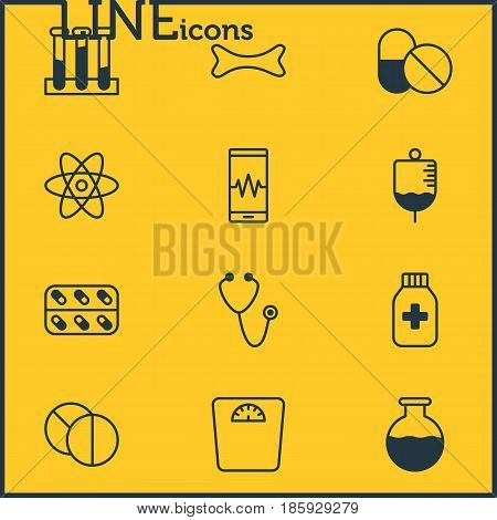 Vector Illustration Of 12 Medicine Icons. Editable Pack Of Antibody, Medicine, Pulse And Other Elements.