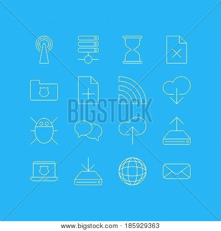 Vector Illustration Of 16 Internet Icons. Editable Pack Of Data Upload, Sandglass, Secure Laptop Elements.