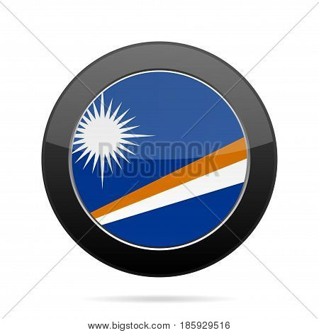 National flag of Marshall Islands. Shiny black round button with shadow.