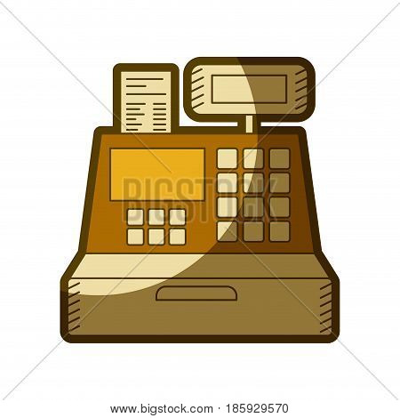yellow aged silhouette of cash register vector illustration