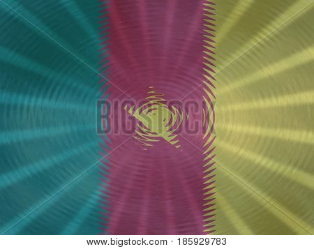 Cameroon flag background with ripples and rays illustration