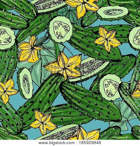 Seamless pattern with cucumber, slice, flower. Colorful hand drawn background with vegetables. vector wallpaper