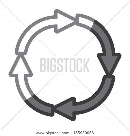 grayscale silhouette of arrows circular shape reload vector illustration