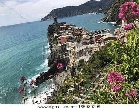 Vernazza is a small fishing village in Cinque Terre, Italy. Photo taken May 2017.