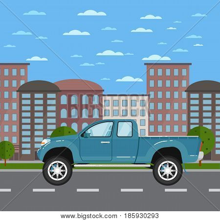 Modern pickup truck in urban landscape. Off road 4x4 auto vehicle, suv car, people transportation concept. City street road traffic vector illustration, cityscape background with skyscrapers.