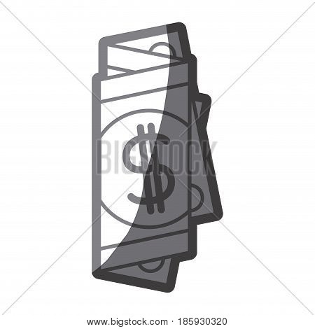 grayscale silhouette of folded bill in many parts vector illustration