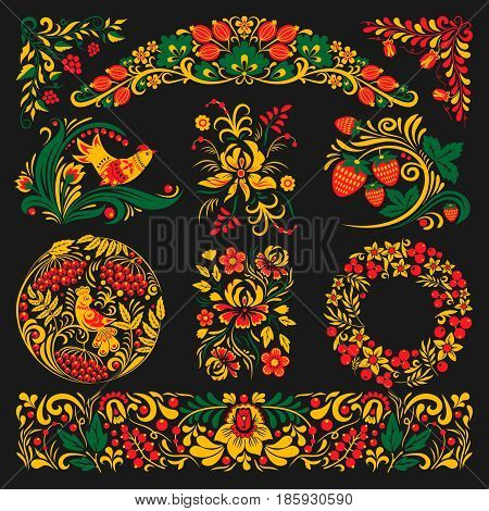 Vector khokhloma pattern design traditional Russia drawn illustration ethnic ornament. Khokhloma painting pattern, decoration objects, elements for poster, banner, print, logo, advertisement design.