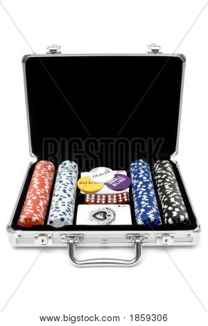 Poker cards chips and dice in a metal case. Isolated on a white background. poster