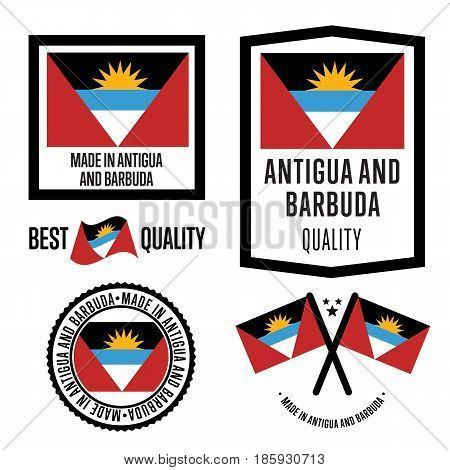 Antigua and Barbuda quality isolated label set for goods. Exporting stamp with nation flag, manufacturer certificate element, country product vector emblem. Made in Antigua and Barbuda badge.
