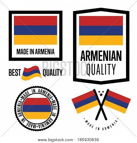 Armenia quality isolated label set for goods. Exporting stamp with armenian flag, nation manufacturer certificate element, country product vector emblem. Made in Armenia badge collection.