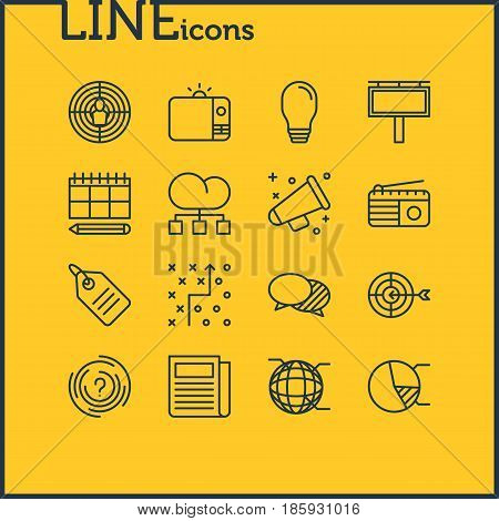 Vector Illustration Of 16 Advertising Icons. Editable Pack Of Schedule, Goal, Announcement And Other Elements.