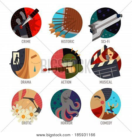 Genre cinema set icons cinematography comedy flat entertainment movie symbol vector illustration. Film motion picture cine movies premiere colorful design.