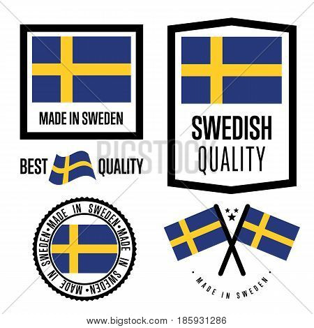 Sweden quality isolated label set for goods. Exporting stamp with swedish flag, nation manufacturer certificate element, country product vector emblem. Made in Sweden badge collection.