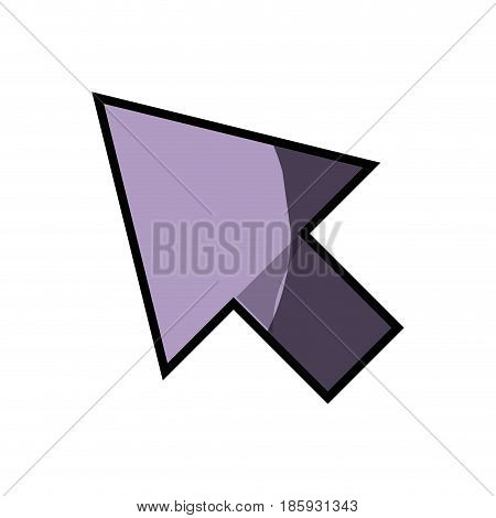 white background with purple arrowhead with half shadow vector illustration
