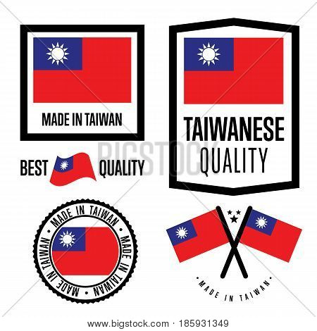 Taiwan quality isolated label set for goods. Exporting stamp with taiwanese flag, nation manufacturer certificate element, country product vector emblem. Made in Taiwan badge collection.
