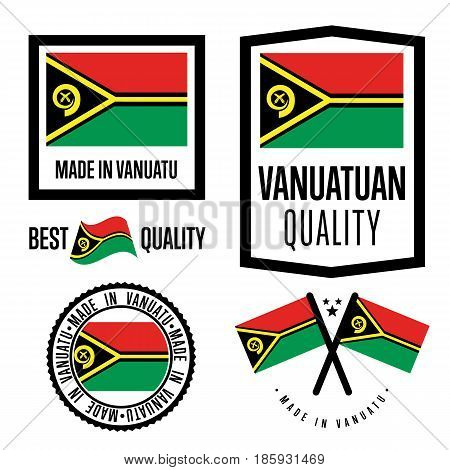 Vanuatu quality isolated label set for goods. Exporting stamp with vanuatuan flag, nation manufacturer certificate element, country product vector emblem. Made in Vanuatu badge collection.